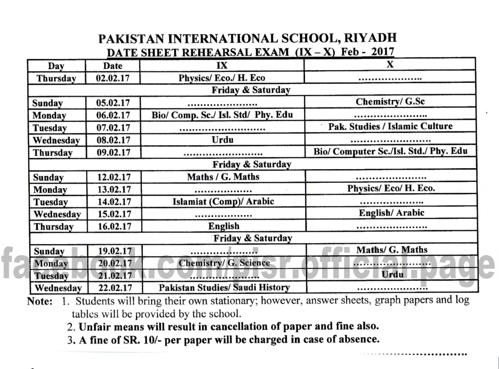 Date Sheet Rehearsal Exams (Boys/Girls) IX-X 2016-2017