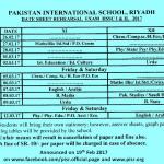 Date Sheet Rehearsal Exams (Boys/Girls) XI-XII 2016-2017