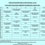 Date Sheet 2nd Semester Examinations (Nursery – Pre-IX) 2016-2017