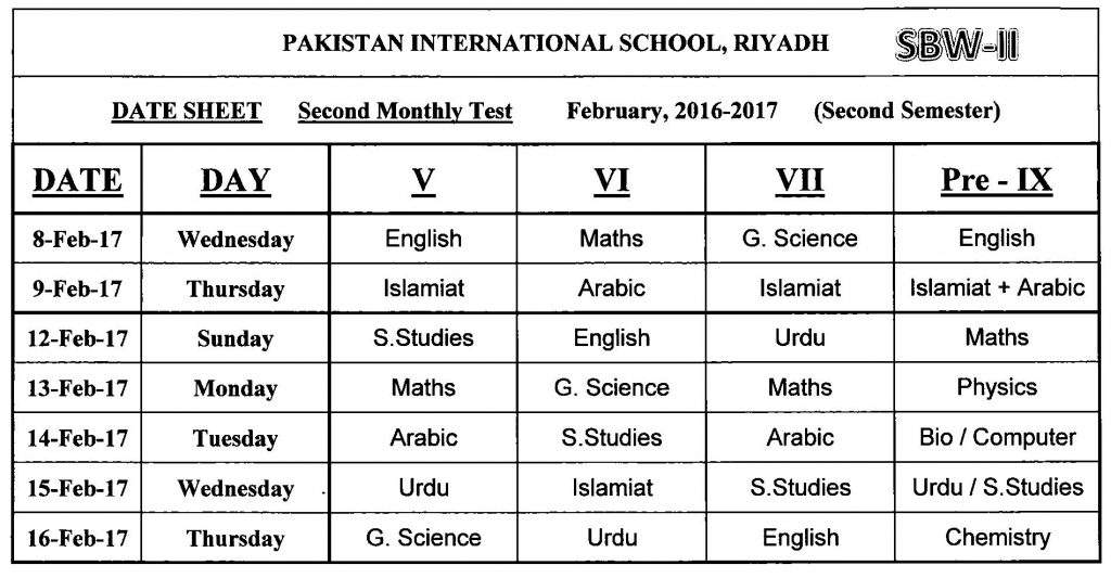 Assessment Schedule (February 2017)