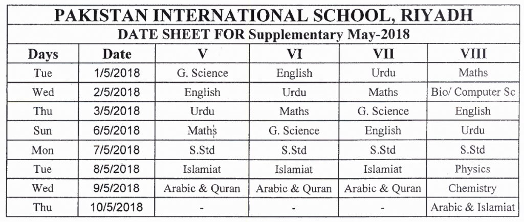 Supplementary Examination (2017-2018)