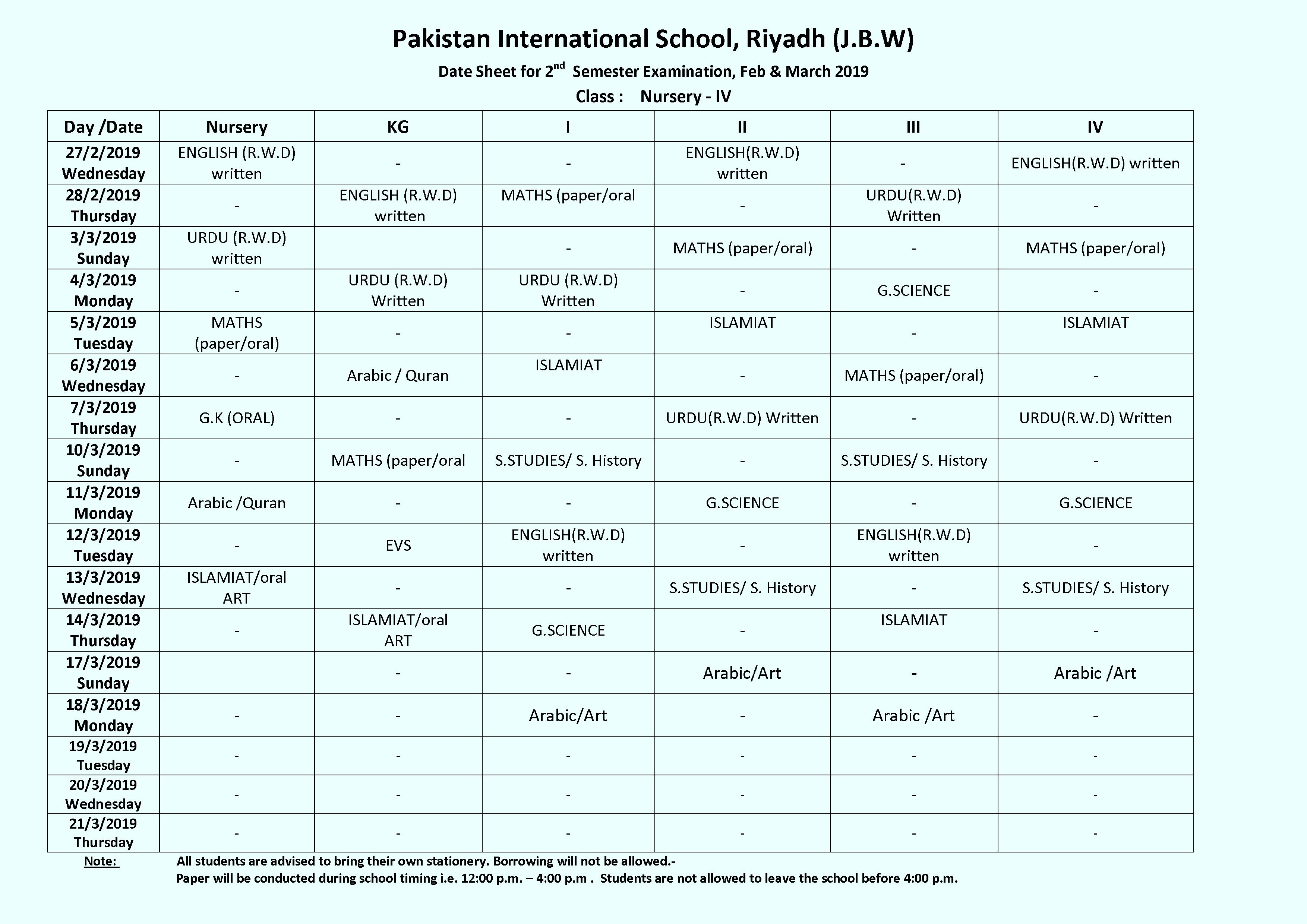 Date Sheet for 2nd Semester Examination 2018-19 — Pakistan