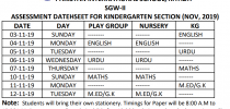 Kindergarten Assessment Date Sheet