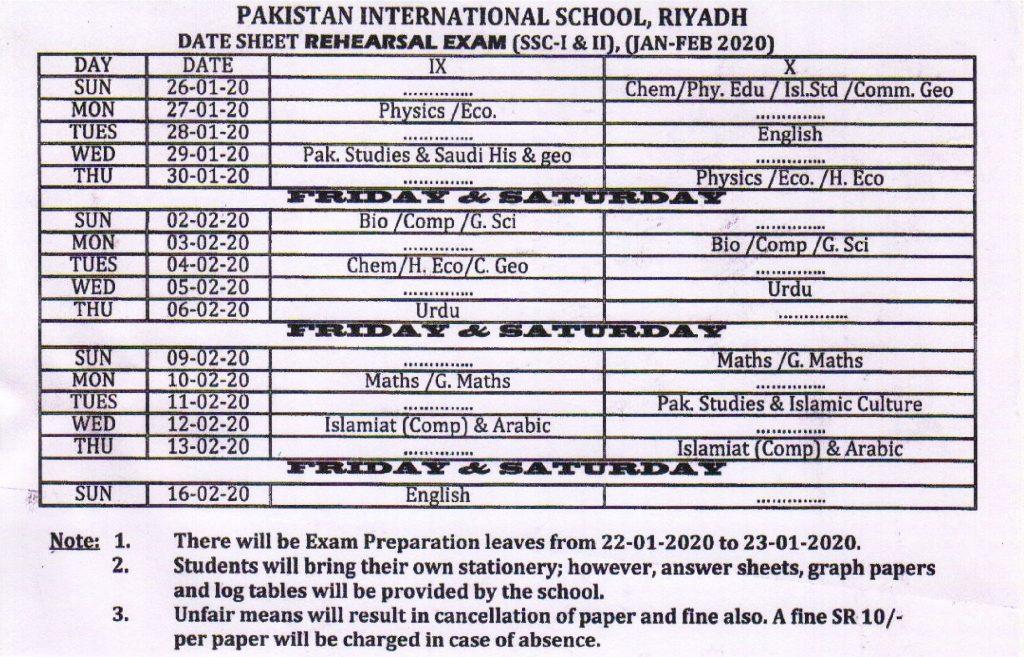 Date Sheet Rehearsal Exams (IX-X) 2019-20