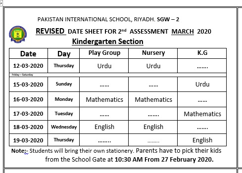Date Sheet 2nd Semester Examination 2019-2020